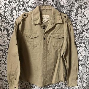Aeropostale Khaki Tan Military Style Mens Shirt XL